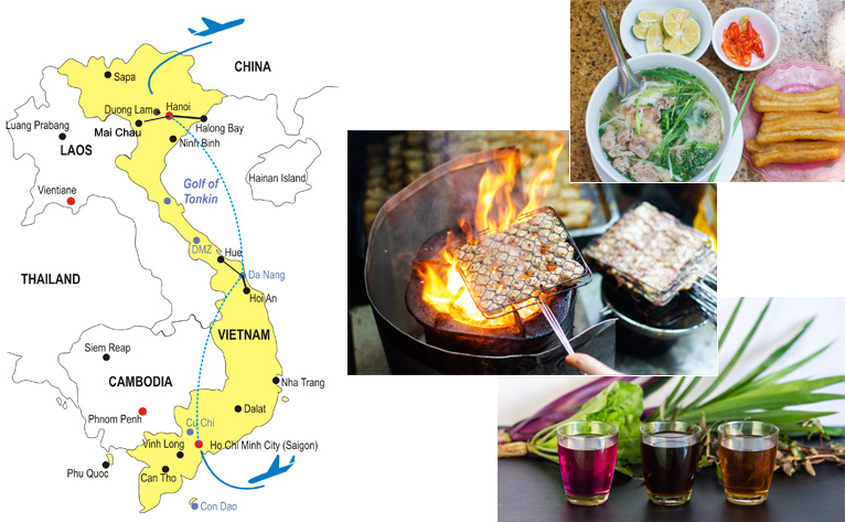 12 Day Vietnam Cooking Tour Map